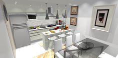Cozinha integrada com a sala em tons e cores claras...