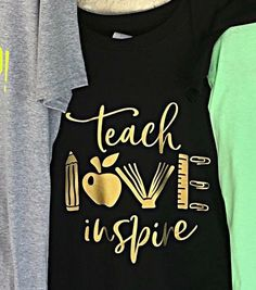 A really cute idea for a teacher shirt! Would look beautiful in DecoFilm Soft Metallics. Kindergarten Teacher Shirts, Teaching Shirts, Shirts For Teachers, Teacher T Shirts, Monogram Shirts, Vinyl Shirts, Team Shirts, Teacher Appreciation Gifts, Teacher Gifts