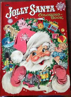 Vintage Whitman Christmas Jolly Santa Coloring Book Jumbo Size..... OH HOW I LOVED THE SUPER SIZE BOOKS TO COLOR
