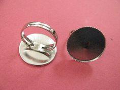 22 mm Adjustable Bezel Ring Base Silver by Turkeysupply http://etsy.me/1B4KZMw #jewelry #ring #mount #brass #jewel #gem #bezel #setting