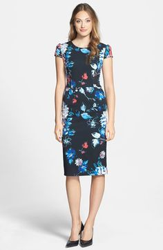 Betsey Johnson Print Stretch Midi Dress available at #Nordstrom