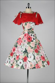 Vintage 1950's Rhinestone Floral Delight Dress and Caplet
