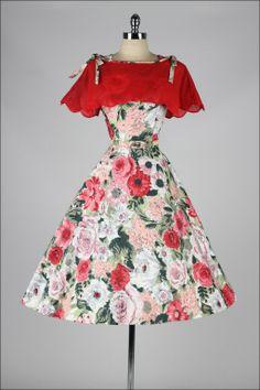 Vintage 1950's Rhinestone Floral Delight Dress and Caplet
