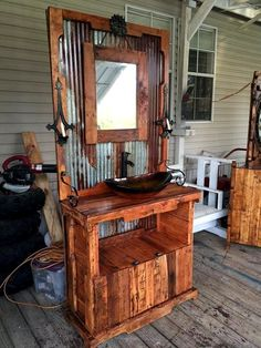 Mid Century-Modern Pallet and Metal Bathroom Vanity - 50+ DIY Pallet Ideas That Can Improve Your Home | Pallet Furniture - Part 2