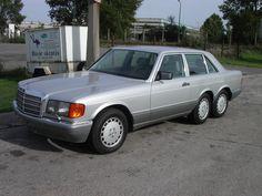 Mercedes-Benz W126 560 SEL Biturbo Nitro 6-wheeler V8 / 6.900 cc / 1.100 PS / 1.330 lb/ft (1.800 Nm) @ 3.500 / 0 - 62 mph (100 km/h): 2,1 s (braking 1,5 s) / 0 - 124 mph (200 km/h): 6,6 s (braking 4,0 s) / Vmax: 268 mph (430 km/h)