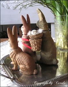 Small collection of vintage/old German Marolin bunny papier maché Easter candy containers