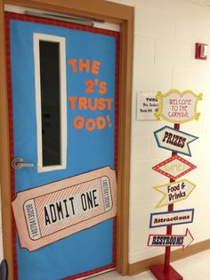 Great door sign.  VBS Colossal Coaster World @ Lawndale Baptist Church