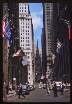 Beautiful Color Photographs of Streets of NYC from the 1940s and 1960s- View west on Wall Street.