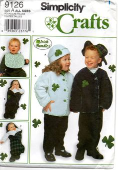 Simplicity 9126 Lucky as a leprechaun IRISH BUNDLES Infant and Toddlers hat, beret, bib, bunting, shamrock jacket childs sewing pattern by mbchills