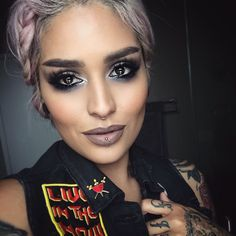 Laced lips? Yes please @lora_arellano is a boss! In @hotmakeup.usa eyes & @meltcosmetics laced lipstick Patch & pins @hallowsociety