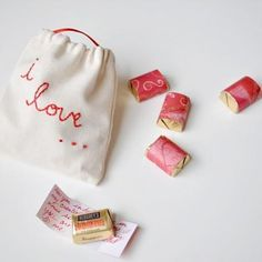 Valentine edible love notes - write your sweetie a note on the wrap for these cute chocolate nuggets