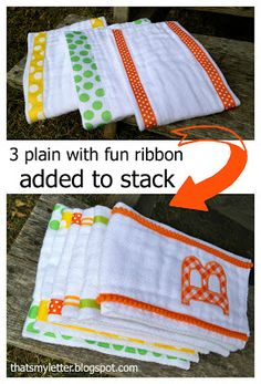 """""""A"""" is for Applique Burp Cloths - Jaime Costiglio Burp Cloth Diapers, Burp Rags, Baby Burp Cloths, Baby Bibs, Burb Cloth Pattern, Burp Cloth Tutorial, Diy Tutorial, Baby Sewing Projects, Baby Patterns"""