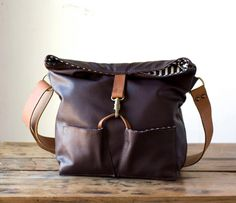 Tom Tom Leather Tote Bag in Eggplant Burgundy Leather by AwlSnap