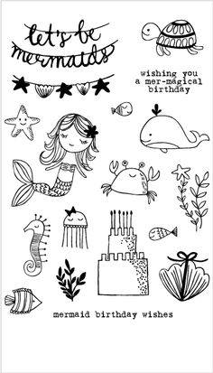 20236 Mermaid Birthday Party Set - - What's even better then a birthday party? A mermaid birthday part of course! Decorate a sand birthday cake, hang up festive starfish decorations or give a shell present and let the celebration begin! Doodle Drawings, Easy Drawings, Doodle Art, Watercolor Card, Party Banner, Party Set, Mermaid Drawings, Birthday Wishes, Birthday Cake