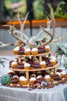 Cupcake Table Decorated with Antlers   Photography: Sallee Photography. Read More:  http://www.insideweddings.com/weddings/rustic-chic-lakeside-wedding-with-geometric-details-in-california/843/