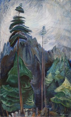 Example of painting in the style of Emily Carr. to go with kinderart lesson on Emily Carr Tom Thomson, Canadian Painters, Canadian Artists, Forest Illustration, Illustration Artists, Illustrations, Canvas Painting Landscape, Landscape Art, Landscape Model