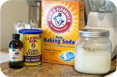 Homemade Deodorant: 1/4 cup baking soda, 1/4 corn starch, 6 Tbsp coconut oil, & essential oil.