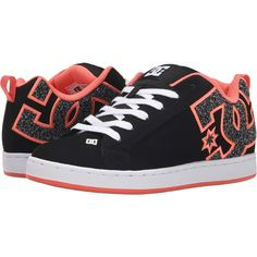 DC Court Graffik SE W (Black Rinse) Women's Skate Shoes ($46) ❤ liked on Polyvore featuring shoes, black, leather shoes, print shoes, black shoes, genuine leather shoes and dc shoes