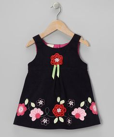 Navy Corduroy Flower Dress - Toddler & Girls by The Silly Sissy and Festive Mini Sissy on today! Cute Girl Outfits, Kids Outfits Girls, Toddler Girl Dresses, Little Girl Dresses, Toddler Outfits, Girls Dresses, Toddler Girls, Kids Frocks, Frocks For Girls