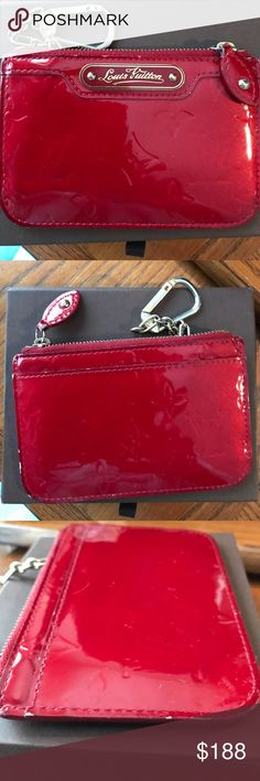 Firm price! authentic Louis Vuitton coin purse 100% authentic Louis Vuitton Cles coin purse. overall condition is good but one corner has rubbed and has scratches , which is shown in my pictures.  Color is PommeD Amour. serial number is CA4047. please ask questions to avoid returns this is in good condition with the exception of some scratches on the corner. Key ring is tarnished with scratches, includes box only no dust bag.  no trades Price is firm on this website❗️check Vin/ted Louis…