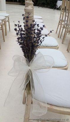 Lavender Pew Ends with Cream Bow at Palm House, Sefton Park.   Wedding Flowers Liverpool, Merseyside - Specialist Bridal Florist | Flower Delivery Liverpool - Same Day Delivery option | Florist Liverpool | Flower & Gift Shop Liverpool