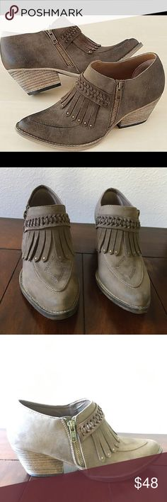 """Venny Kilt Bootie by Very Volatile NWOT From goldtone-studded fringe and braiding to diamond-shaped stitching on the toe, no one can miss all this eye-catching detail. Side zip; 2"""" heel. Synthetic. NWOT, never worn! Very Volatile Shoes Ankle Boots & Booties"""
