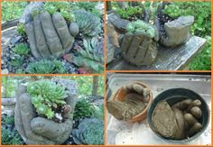 Fill a glove with concrete and prop inside a form or pot and let dry/cure!  Super garden sculpture with function!