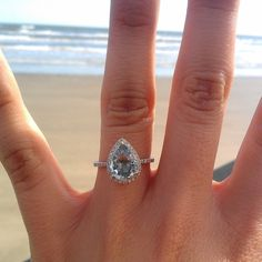 Obsessed- sapphire engagement ring from Eidel Precious on Etsy. Pear Shape thin band