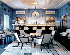 Immortal Beloved - Lonny.  David Collins designed space, The Blue Bar and the Berkeley Hotel, London. Play of black, white, and blue.  AMazing plaster coffered ceiling.