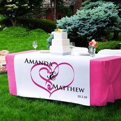 Wedding Decorations and Table Decor - Personalized Embracing Hearts Table Runner. $100.99  Personalized FREE!