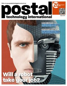 Postal Technology International magazine cover featuring an illustration by Shaw Nielsen for a