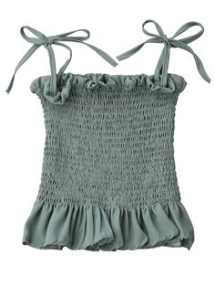 Spaghetti Strap Smocked Peplum Tank Top - LIGHT GREEN ONE SIZE