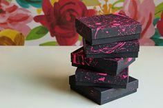 DIY Splatter Paint Favor Boxes [[paint big boxes for stationery etc.?]]