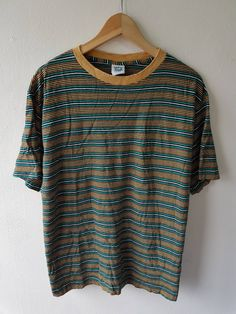 53127f91 Vintage 90s World Island Stripes Colorful Surfing Gear Embroiderd Sleeve  Monogram T-Shirt Size M