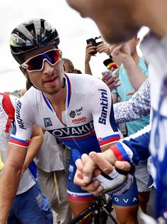 Peter Sagan celebrates after crossing the finish line to win the European Championships