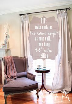 DIY Smocked drop cloth curtains: top for hanging curtains at www.maisondepax.com