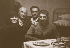 Joseph Stalin poses with Lavrentiy Beria and N.A. Kipshidze at a visit to his mother's home in Georgia, 1935. This was the last time he came to see her