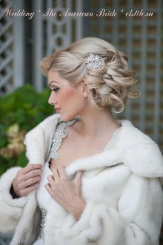 Stunning bridal updo, looks so elegant! Wedding Fur, Curly Wedding Hair, Wedding Hair And Makeup, Bridal Hair, Hair Makeup, Glamorous Wedding, Dream Wedding, Winter Wedding Hair, Hairstyle Wedding