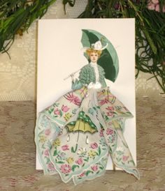 vintage handkerchief | 1904 Walles Walking Costume Keepsake Hanky Card by onceuponahanky