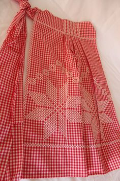 Vintage Apron Handmade Red and White by losttreasures2u on Etsy, $12.99