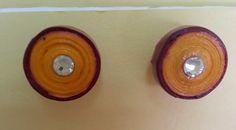 Handmade waterproof quilled earrings material : acid free paper with swarovski flat base KM Q29