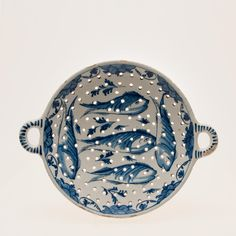 Dutch Delft Blue and White two-handled Fish Strainer - Holland, around 1720