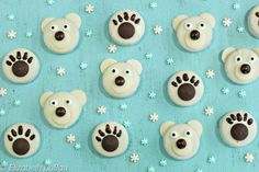 Polar Bear Oreo Cookies are so cute, they're almost unbearable! Plain cookies are transformed into cuddly polar bears and sweet bear paw prints.