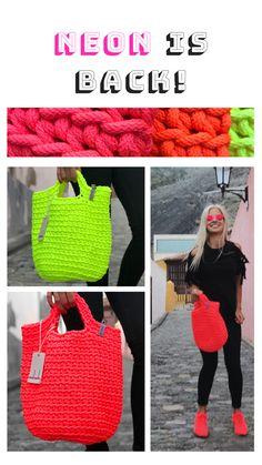 Japanese Knot BagKnitting Bag    Neon daises on blue background
