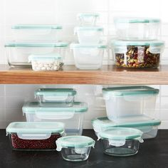OXO ® Snap Glass/Plastic Storage Set at Crate and Barrel Canada. Discover unique furniture and decor from across the globe to create a look you love. Best Meal Prep Containers, Glass Storage Containers, Plastic Food Containers, Glass Food Storage, Plastic Storage, Crate And Barrel, Storage Sets, Pantry Storage, Space Saving Storage