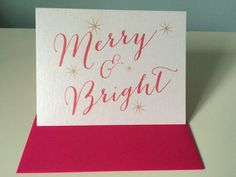 Christmas Card Merry & Bright pink and by UptownDesignsCanada Merry And Bright, Bright Pink, Etsy Store, Christmas Cards, Unique Jewelry, Tableware, Handmade Gifts, Art, Christmas E Cards