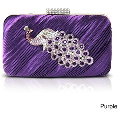 Jacki Design Peacock Brooch Hardcase Evening Clutch ($31) ❤ liked on Polyvore featuring bags, handbags, clutches, purses, purple, peacocks handbags, hand bags, purple purse, peacock purse and evening hand bags