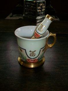 Antique Masonic Shaving Mug w/ Matching Brush 1900-09 3 Crowns Germany. $150.00, via Etsy.