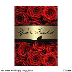 Custom Red Roses Wedding Custom Invitations created by party_depot. This invitation design is available on many paper types and is completely custom printed. Red Wedding Invitations, 50th Birthday Invitations, Anniversary Invitations, Engagement Party Invitations, Save The Date Invitations, Custom Invitations, Wedding Cards, Graduation Invitations, Invites