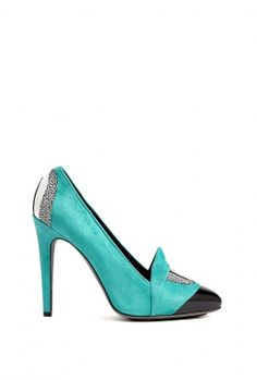 0229946dac0d Turquoise Suede And Black Patent Eye Court Shoes by Aperlai Pari ON SALE  MAJOR!! High Heel ...